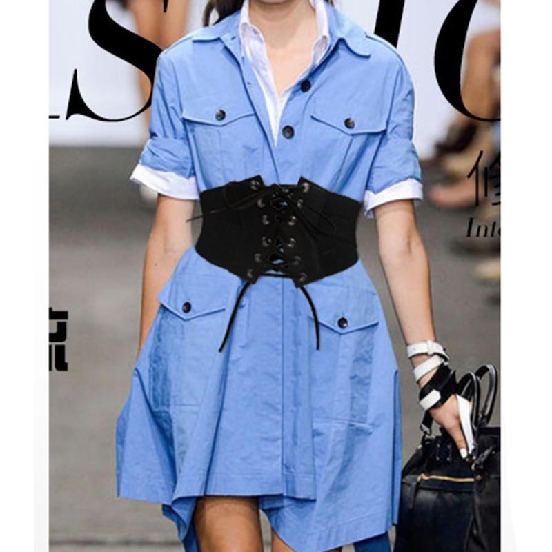 2019 Women Vintage Black Stretch Cross Bracket Strap Girdle Up High Waist Corset Bandage Women Cincher Wide Belts Slimming Body