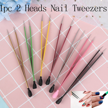 Nails-Tools Straight-Nail-Tweezers Silicone 7-Colors Metal 1pc with Pressing-Head