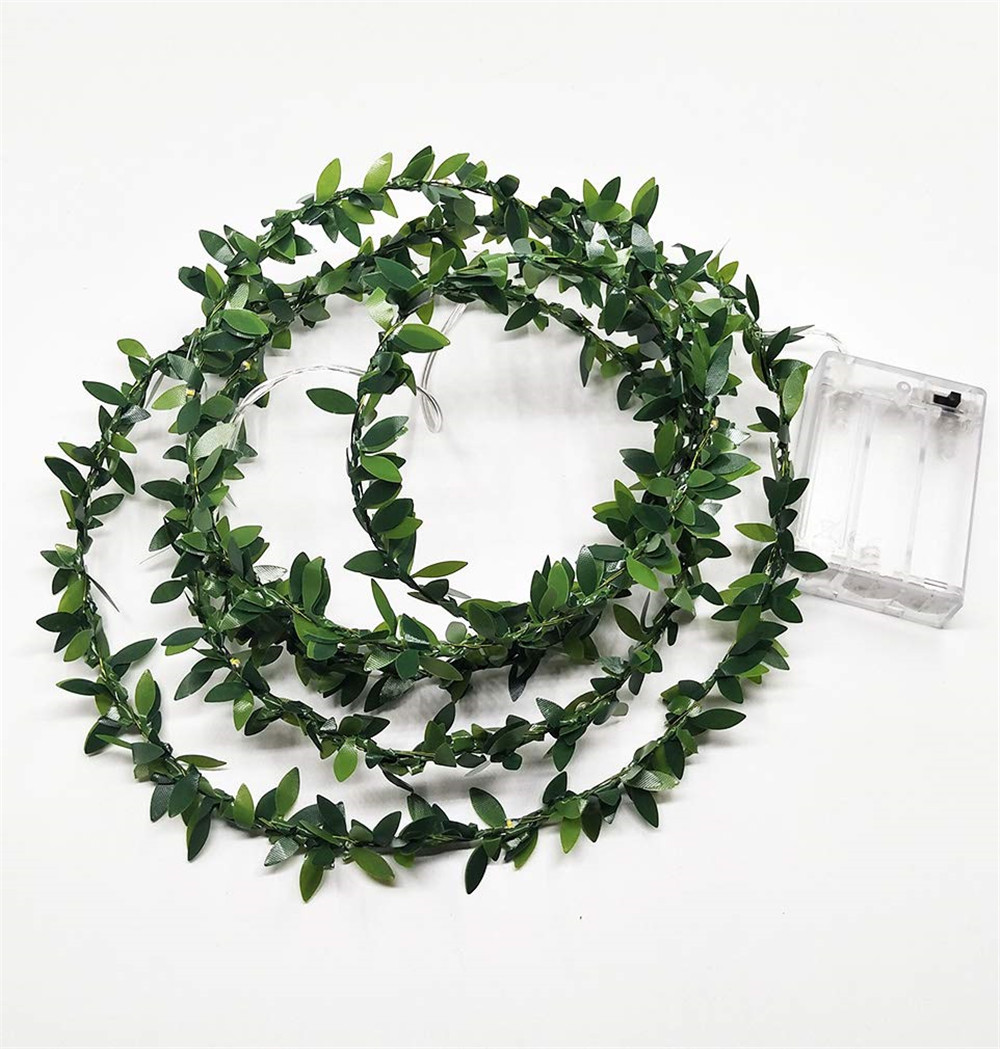 3M/5M/10M Tiny Leaf Garland Holiday String light Battery Powered Fairy decoration for Christmas Party New Year Wedding Garden