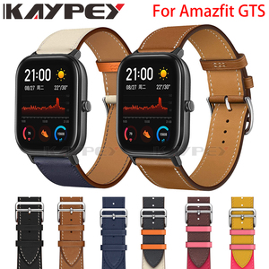 Image 1 - Fashion Genuine Leather Watch Band Strap for Xiaomi Huami Amazfit GTS 2 / Mini Bip Lite S U Leather Sporty Wrist band strap
