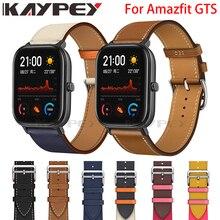 موضة حزام جلد طبيعي (استيك) ساعة حزام ل شاومي Huami Amazfit GTS 2 / Mini Bip Lite S U جلد رياضي المعصم الفرقة حزام