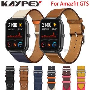 Image 1 - แฟชั่นของแท้หนังสายนาฬิกาสำหรับXiaomi Huami Amazfit GTS 2 / Mini Bip Lite S UหนังSportyสายรัดข้อมือ
