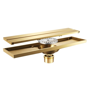 Floor Drain for Bathroom Classic Drainer Bathroom Type Deodorization Gold Color Brass Line Floor Drain for Family Hotel Large Di