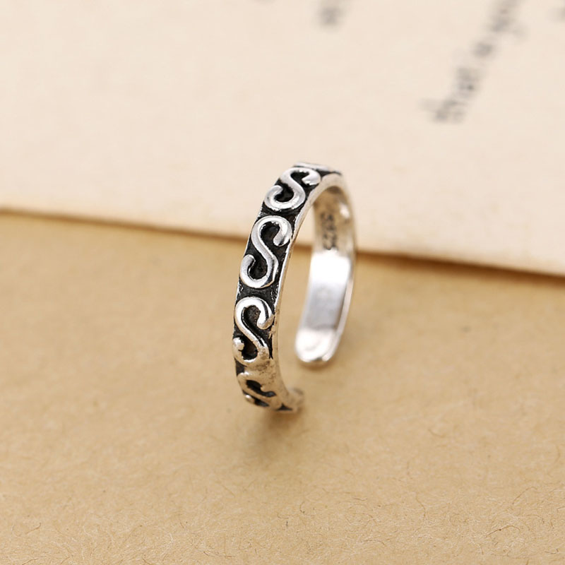 Fashion Thai Silver Ring for Women Black Wavy shape Rings Personality National style Opening Rings Lady Birthday Gift in Rings from Jewelry Accessories
