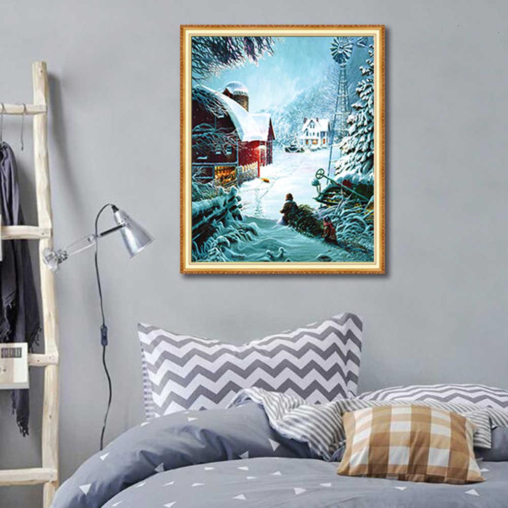 Neve natal display completo quadrado/cenário redondo diamante bordado 5d pintura diamante mosaico ponto cruz needlework