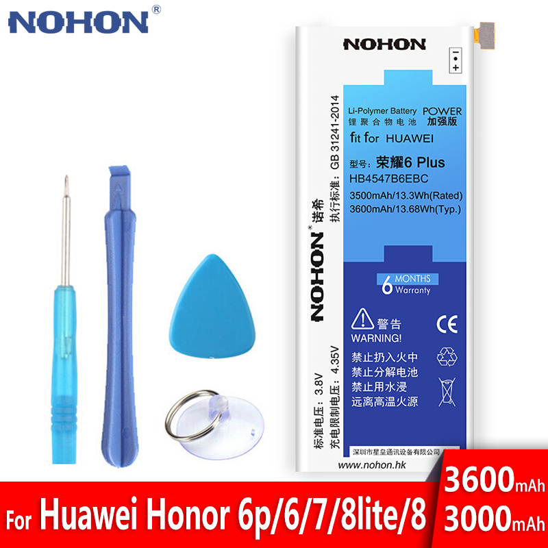 NOHON HB4547B6EBC HB366481ECW For <font><b>Huawei</b></font> Honor 6 Plus 7 8 9 P9 <font><b>P10</b></font> Lite Battery Replacement Lithium Polymer <font><b>Bateria</b></font> Free Tools image