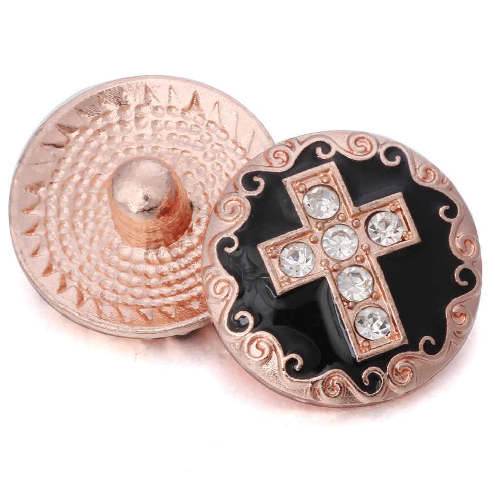 5 sztuk/partia nowy Snap biżuteria 18 przyciski zatrzaskowe mm srebro różowe złoto krzyż kwiat metalowe zatrzaski Fit Snap przycisk biżuteryjny bransoletka naszyjnik