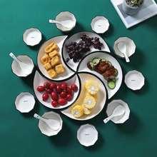 5 sztuk zestaw kreatywny luksusowy Nordic kwiat śliwy kwiatowy ceramiczne przekąski talerze porcelanowa okrągła księżyc płytkie talerze danie przekąski talerze tanie tanio CN (pochodzenie) Snack Plates ROUND Bone china Floral Moon Shape Porcelain Dinner Plate Dish Ceramic Baking Plate Dishes