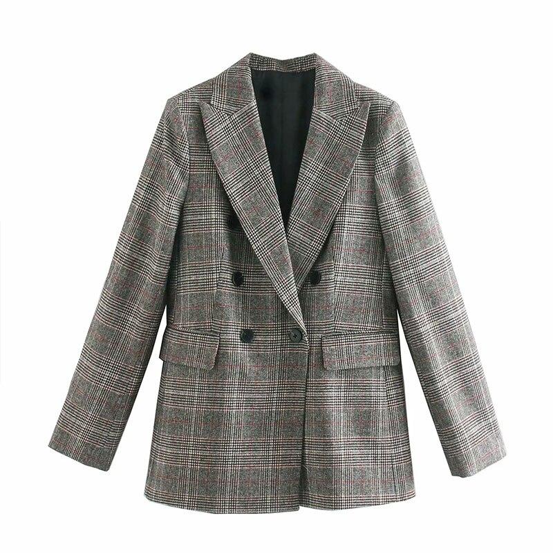 2020 england high street vintage plaid print za women blazer feminino blazer women blazer mujer 2020 women blazers and jackets