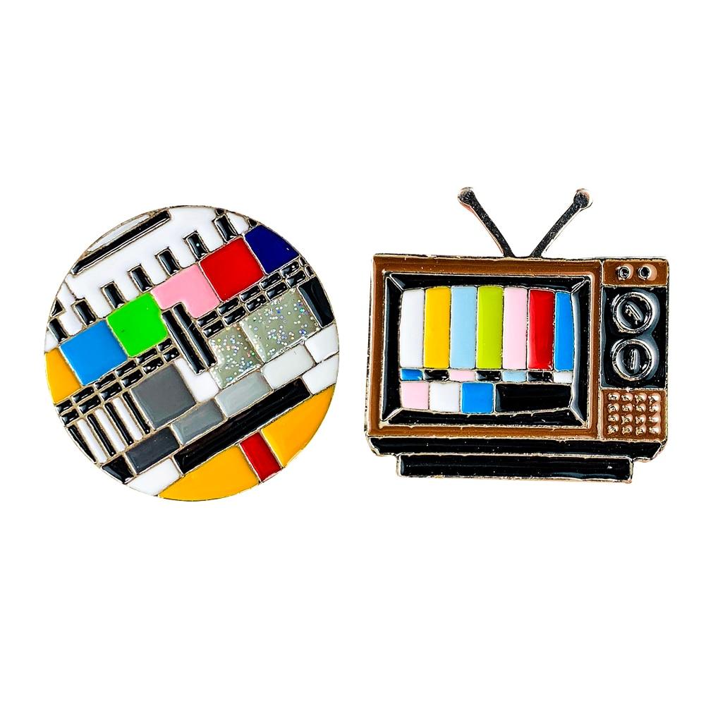 Модная брошь Новое поступление ювелирные изделия креативная Ретро ТВ-канал без сигнала значок-булавка модная брошь аксессуары для одежды