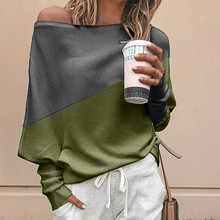 Women Batwing Sleeve Off Shoulder Sweaters Autumn Knitted Tops Knitwear Pullover Ladies Contrast Color Loose Jumper Sweater contrast panel batwing sleeve tee