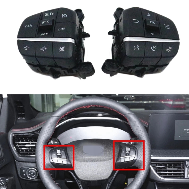 Car Cruise Control Switch Multifunction Steering Wheel Button Bluetooth Switch for Ford Focus Fiesta 2019-2020
