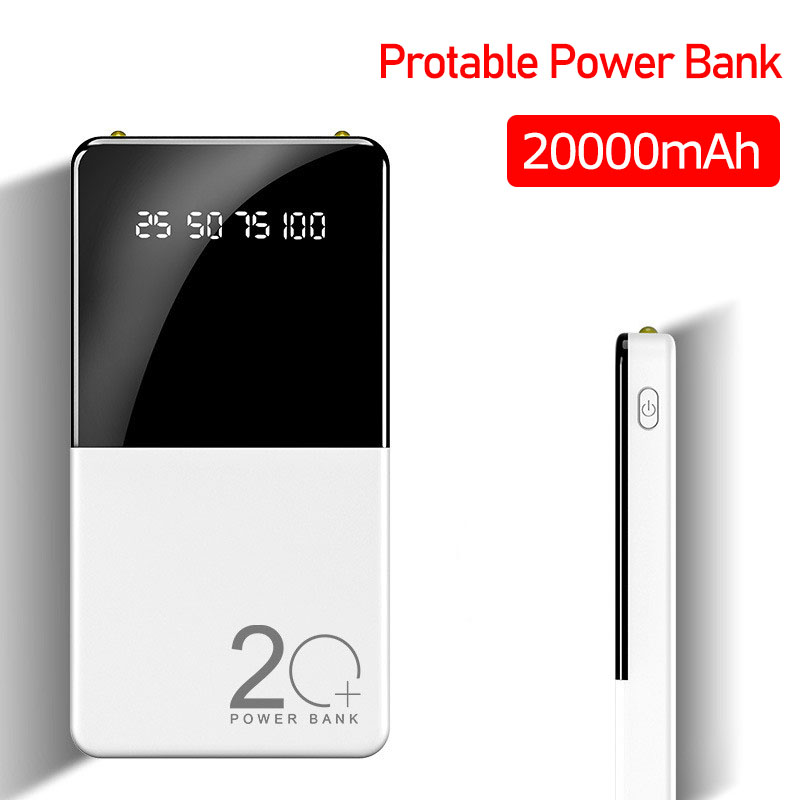 20000mAh Portable Power Bank Dual USB Powerbank External Battery LED Display Fast Portable Charger For Iphone Samsung Xiaomi