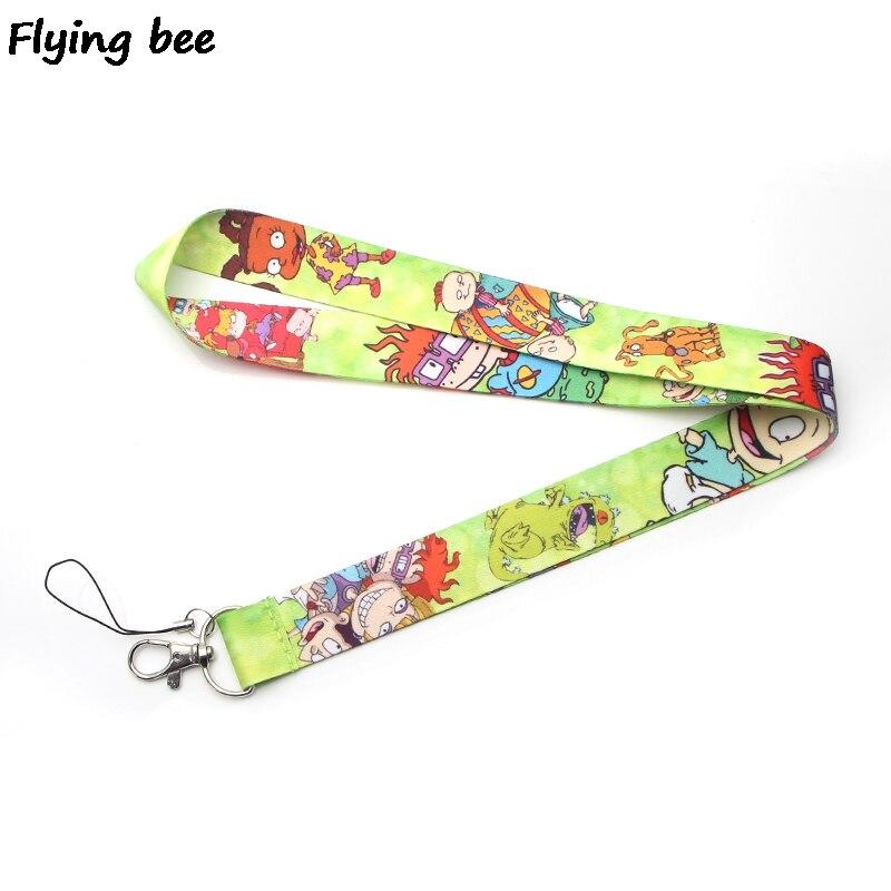 Flyingbee Funny Kawaii Kids Lanyard Phone Rope Keychains Phone Lanyard For Keys ID Card Cartoon Lanyards For Men Women X0380