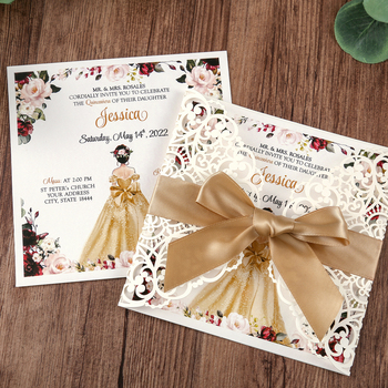 50pcs Square Wedding Invitations Cards Bridal, Baby Shower Invite, Birthday, Dinner Invites, with Gold Bowknot Hollow W0004