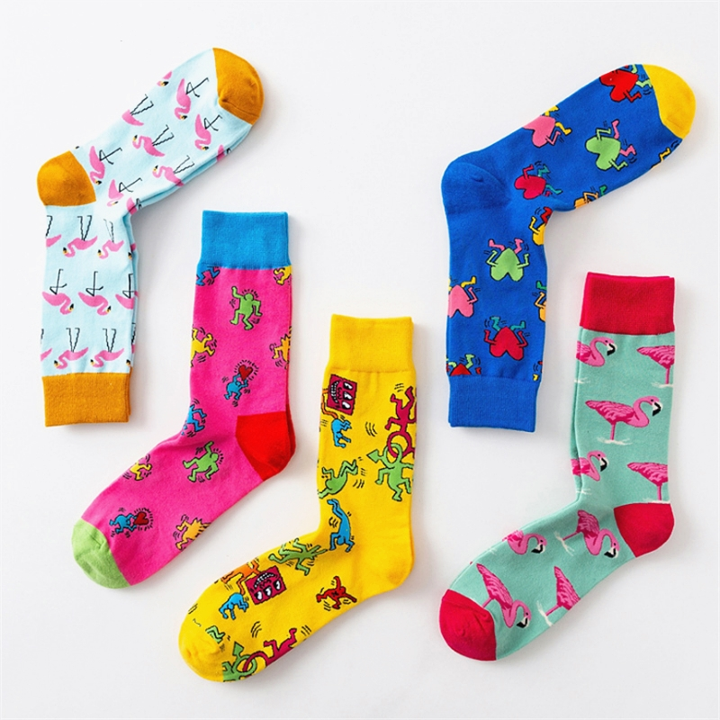 Novelty Happy Funny Men Graphic Colorful Socks Combed Cotton Crazy Men Women Creative Graffiti Tide Sox Male Sock New Year Gift