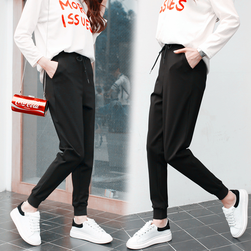 Trousers Nine-Part Sports-Pants Original Leisure Wind Old Woman Bf Bound Will-Code Time