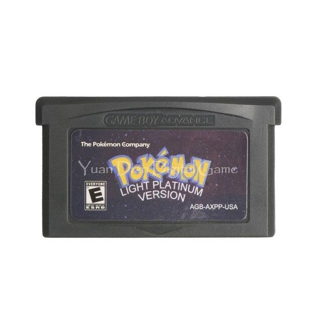 For Nintendo GBA Video Game Cartridge Console Card Poke Series Light Platinum English Language US Version