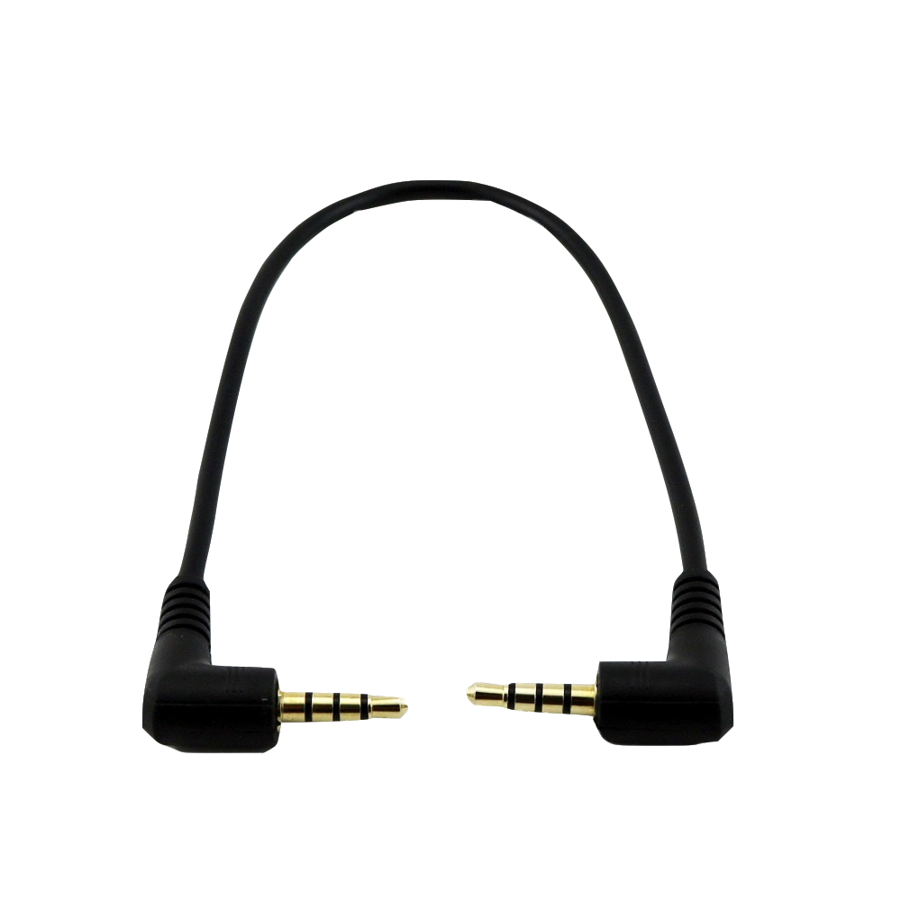1x Gold Plated Plug Stereo <font><b>3.5mm</b></font> <font><b>4</b></font> <font><b>Pole</b></font> Male to Male Right Angle Plug M/M Audio Short <font><b>Connector</b></font> Cable Cord 20cm image