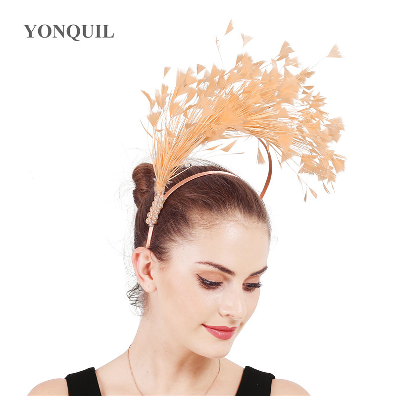 New vintage fancy feathers headbands for women female party dance dinner headwear ladies hair bands wedding hair accessories