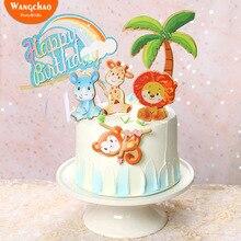 1 Set di Animali Safari Torta Di Compleanno Topper Foresta Leone Scimmia Bambini A Tema Festa di Compleanno Della Decorazione Della Torta Per Bambini Rifornimenti Del Partito