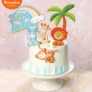 Image 1 - 1 סט חיות ספארי יום הולדת עוגת טופר יער האריה קוף Theme ילדים מסיבת יום הולדת עוגת קישוט ילדי ספקי צד