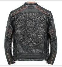 משלוח חינם. DHL מכירות חדש מותג בתוספת גודל שחור גברים גולגולת עור מעילי גברים של אמיתי עור biker jacket.mo torbiker מעיל