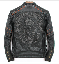¡Envío gratis! ¡novedad! ¡envío gratis! Chaquetas de piel de calavera para hombre, de piel auténtica chaqueta de motociclista, color negro