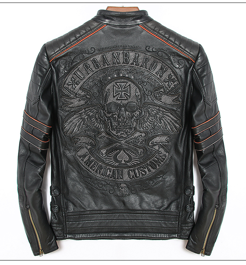 Free Shipping.2019 Sales New Brand Plus Size Black Men Skull Leather Jackets Men's Genuine Leather Biker Jacket.motorbiker Coat