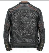 Free shipping.DHL sales New Brand plus size black men skull leather Jackets mens genuine Leather biker jacket.motorbiker coat