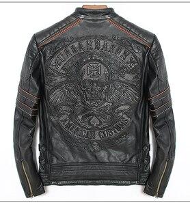 Image 1 - Free shipping.DHL sales New Brand plus size black men skull leather Jackets mens genuine Leather biker jacket.motorbiker coat