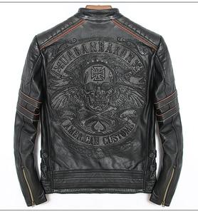 Image 1 - Frete grátis. dhl vendas nova marca plus size preto homem crânio jaquetas de couro genuíno dos homens motociclista jacket.mo casaco torbiker