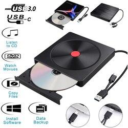 USB 3.0 type c szybki zewnętrzny napęd CD/napęd DVD polerowany dla Mac/Windows 10/Laptop/PC napęd optyczny nagrywarka odtwarzacza|Dyski optyczne|   -