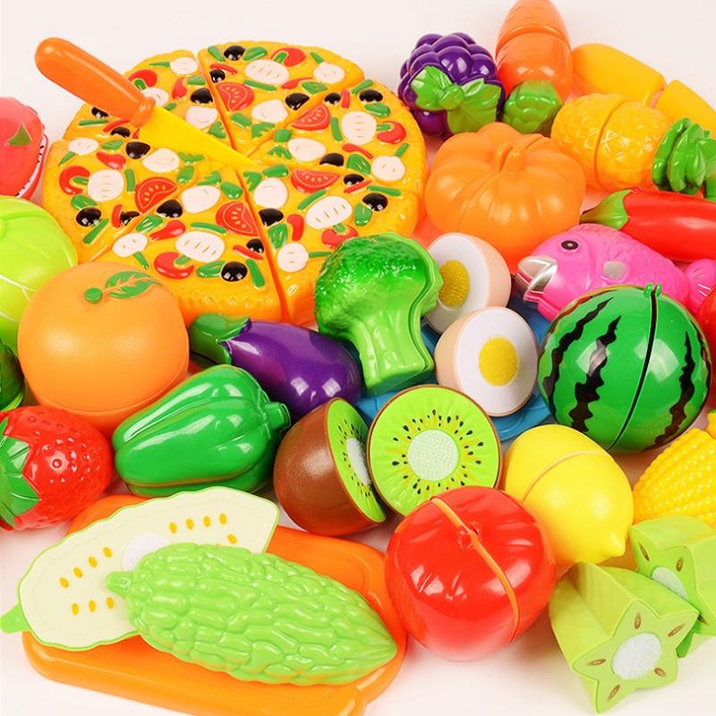 6/10/13/18pcs/20pcs/37pcs/set Housekeeping Toys Education Toys For Baby Color Random Surwish Plastic Fruit Vegetables Cut Toys