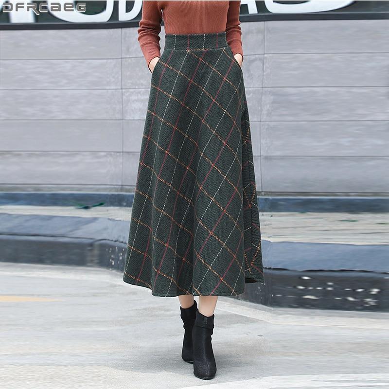Vintage High Waist Plaid Skirts Women Retro Tartan A-line Jupe Longue Warm Wool Autumn Winter Ladies Skirts Plus Size Maxi Saia