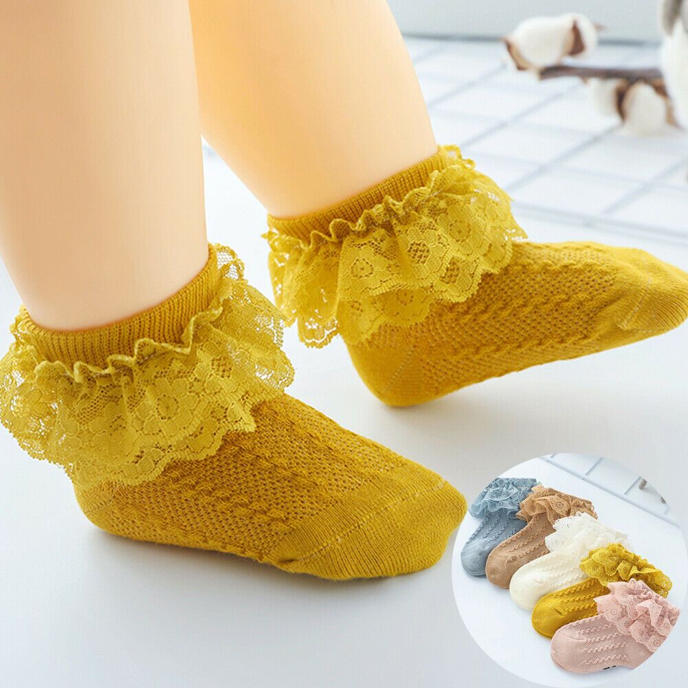 Pudcoco Spring Autumn Baby Socks Cute Lace Flower Bows Newborn Baby Girls Socks Cotton Princess Girls Socks Gifts Accessories
