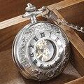 GORBEN Mode Silber Mechanische Steampunk Römischen Zahlen Zifferblatt Taschenuhren handaufzug Halskette Fob Kette Unisex Geschenk-in Taschenuhren aus Uhren bei