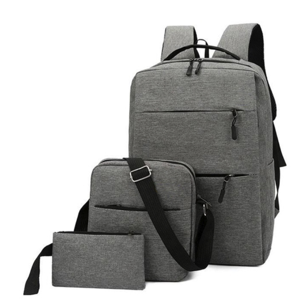 3PCS/Set USB Charging Oxford Cloth Backpack Laptop Backpack Computer Bags Hiking Hunting Travel Shoulders Backpack