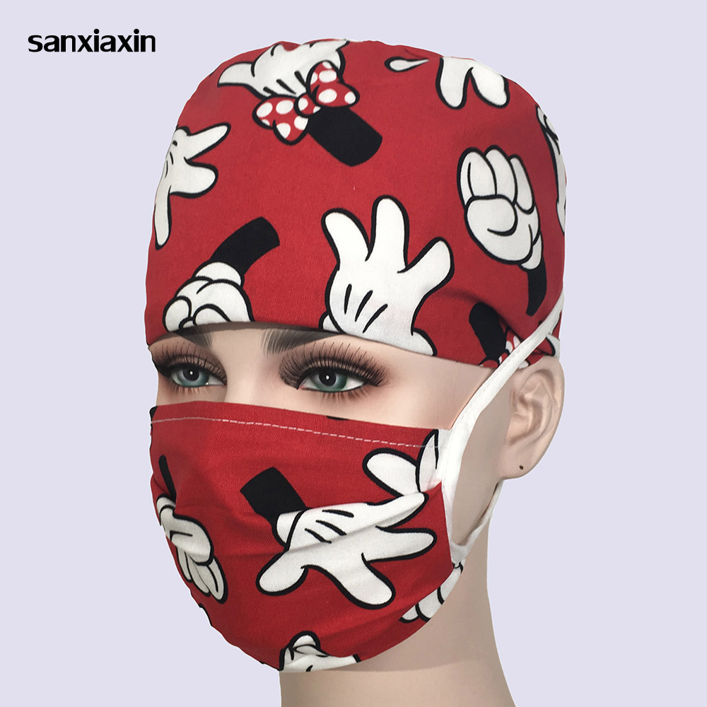 Medical Cap With Mickey Sweatband Cotton Pet Doctor Hats Surgical Caps Dentistry Beauty Work Pet Doctor Printing Veterinary Hats