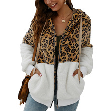 Leopard Women Hoodies Patchwork Fleece Sweatshirts Female Zipper Hoodie Casual sudadera mujer moletom D25