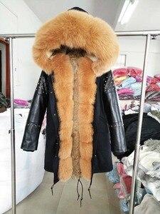 Image 2 - OFTBUY ארוך אמיתי Parka פרווה מעיל חורף מעיל נשים טבעי כבש עור מסמרת שרוולים ארנב רירית הלבשה עליונה Streetwear
