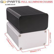 118x80x45 مللي متر كامل الألومنيوم الضميمة حالة مكبر للصوت الهيكل Hifi الصوت لتقوم بها بنفسك صندوق أدوات الفضة أسود
