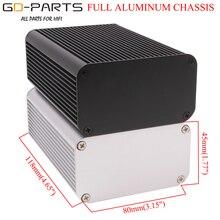 118x80x45mm 전체 알루미늄 인클로저 케이스 앰프 섀시 Hifi 오디오 DIY 악기 상자 실버 블랙
