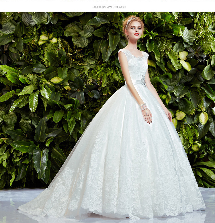 Bridal Ball Gown Crystal Belt Romantic New Fashionable Sexy Vestido De Novia Casamento Lace Wedding Dress 2016 Free Shipping