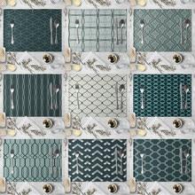 1 Pcs Blau Weiß Geometrische Muster Tischset Esstisch Matte Tee Coaster Leinen Pad Tasse Matten 40*30cm wohnkultur