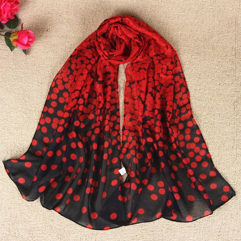 Women Dot Print Shawls Long Soft Wrap Scarf Dot Print Lady Scarf Shawl Chiffon Scarves