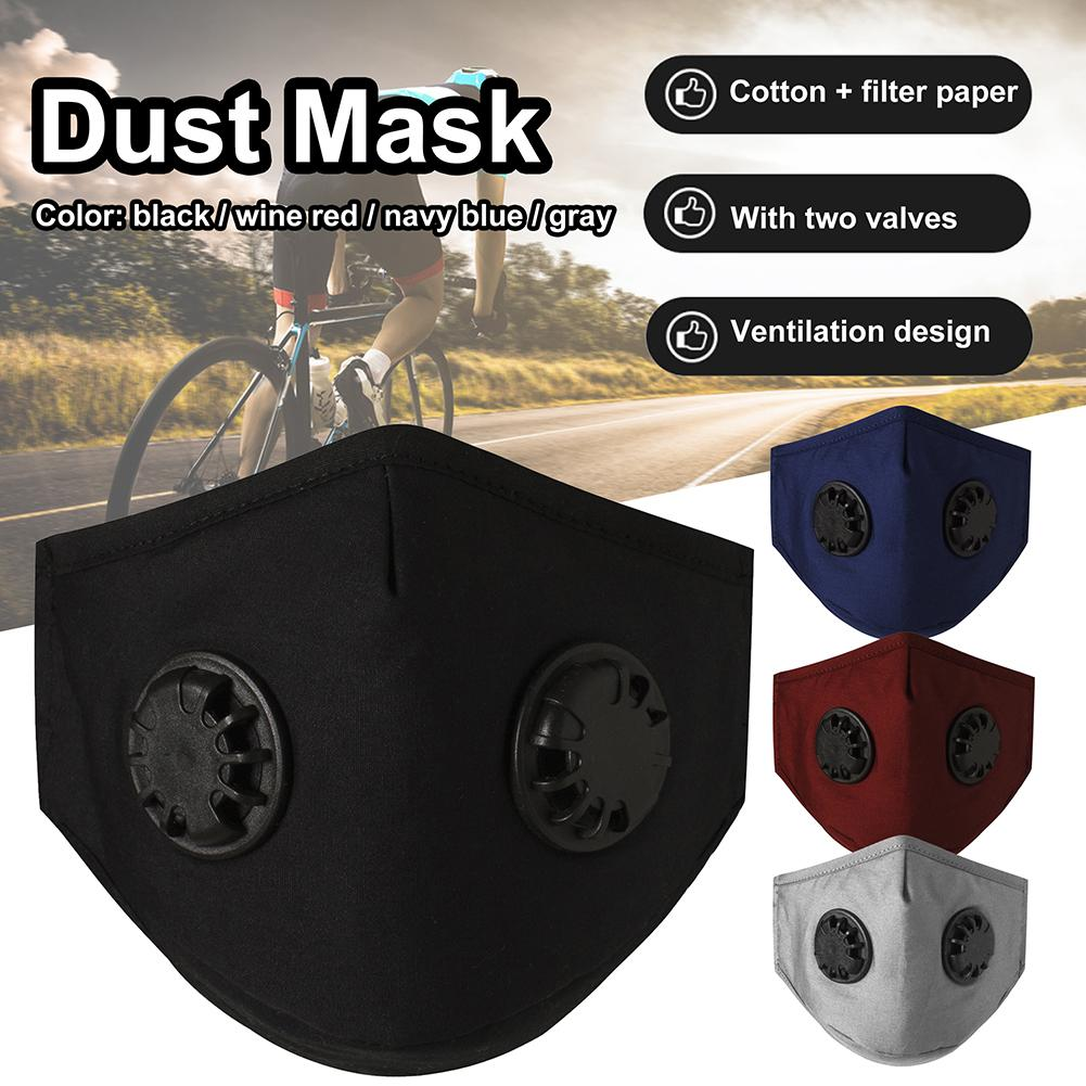 Dual Valve Respirator Mask Dustproof Mask Activated Carbon Filtration Exhaust Gas Anti Pollen Allergy PM2.5 Face Cover