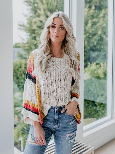 Stripe Autumn Oversized Flare Sleeve Boho Sweater