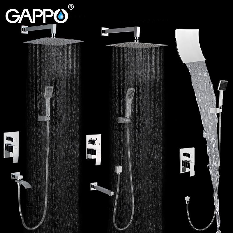 GAPPO Wall Bathroom Shower System  Set Bronze Rainfall Shower Faucet Chrome Bathtub Faucet Tap Waterfall Head Bath Shower GA7102