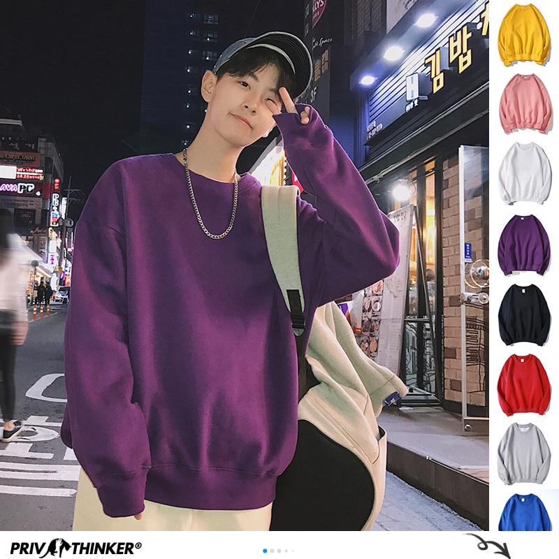 Privathinker Men Harajuku Hoodies Sweatshirts Oversized 2020 Men Women Streetwear Black Hoodie Male Hiphop Winter Basic Hoodies